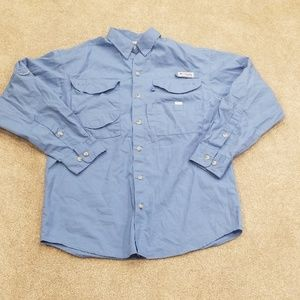 Columbia pfg fishing shirt blue xs